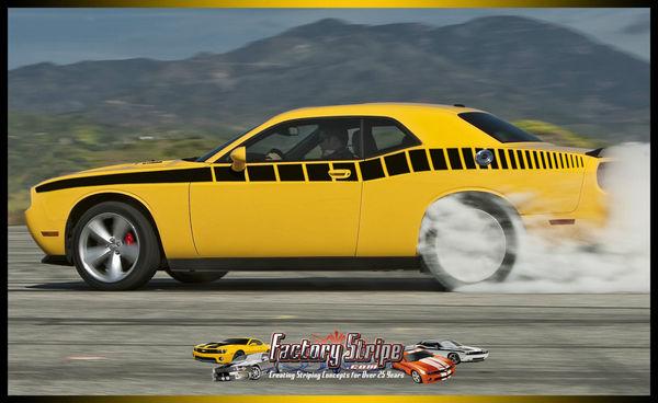Dodge Challenger Side Strobe Graphic Factory Stripe Style