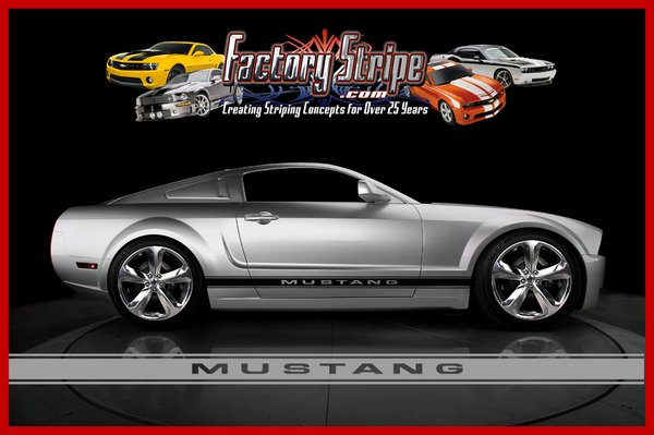 Ford Mustang Racing Rally With Outline Automotive Graphics