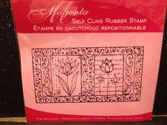 Magenta Floral Panel Cling Rubber Stamp