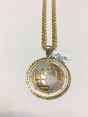 10KT Solid Yellow Gold Figaro Chain With Globe Charm, 76609