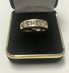 14KT Solid Yellow Gold, Real Diamond Man Rings, E176