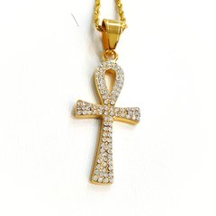 Pure Stainless steel chains and charm gold tone with Crystal's W8731