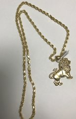 10kt yellow gold rope chain and Loin charm