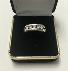 14KT Solid White Gold, Real Diamond Man Rings, E187