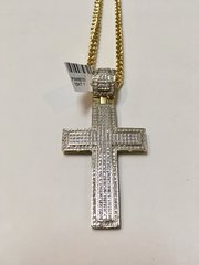 10KT Solid Yellow Gold Franco Chain With Diamond Cross Charm,111672