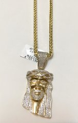 10KT Solid Yellow Gold Palm Chain With Real Diamond Jesus Face Charm, 31914
