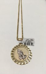 10KT Solid Yellow Gold Rope With Pray Hands Charm, 76586