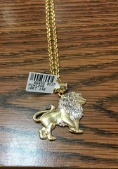10KT Solid Yellow Gold Rope With Lion Charm, 66455