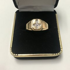 10KT Solid Yellow Gold, Real Diamond Man Rings, E192