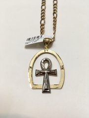 10KT Solid Yellow Gold Franco Chain With Cross White Gold Charm, 78107