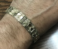 10kt solid yellow gold nugget bracelet