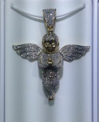 10kt Solid Yellow Gold Angel Diamond Pendant