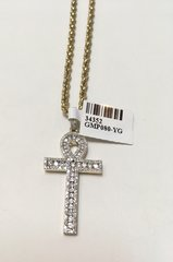 10KT Solid Yellow Gold Rope With Real Diamond Cross Charm, 34352
