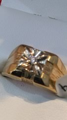 10 K solid yellow Gold men real diamonds solid ring