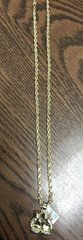 10k solid yellow gold 5mm Rope chain with boxing gloves charm