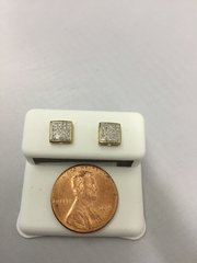 10K Medium Size Square Yellow Gold and White Round VS1 Diamond Earrings