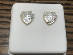 10kt solid yellow gold .25 Ct diamond heart earring