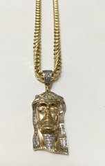 10KT Solid Yellow Gold Franco Chain With Jesus Face Real Diamond Charm, E0561