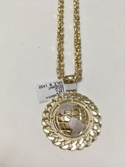 10KT Solid Yellow Gold Rope With Glob B Round Charm, 76581