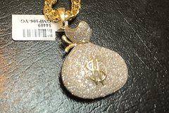 10kt solid yellow gold chain with 10kt diamond money bag charm