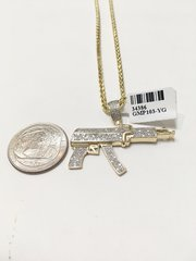 10KT Solid Yellow Gold Palm Chain With Chopper Gun Diamond Charm, 34386