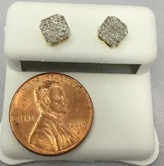 10K Mini Octoganol Yellow Gold White Round VS1 Diamond Earrings