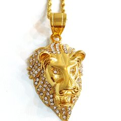 Pure Stainless steel chains and charm gold tone lion King charm with crystals W21111