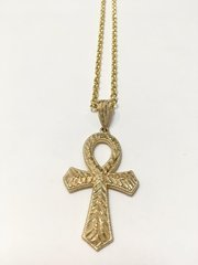 10KT Solid Yellow Gold Link Chain With Cross Charm, E0667