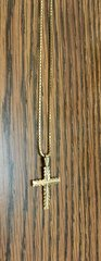 10KT Solid Yellow Gold Rope With Cross Charm, E0552