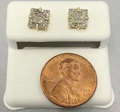 10K Yellow Gold Square Round White Diamonds VS1 Earrings