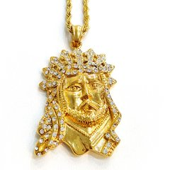 Pure Stainless steel chains and charm gold tone Jesus face with Crystal's W2297