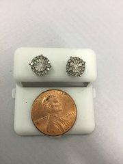 10K Round White Diamond VS1 Earrings
