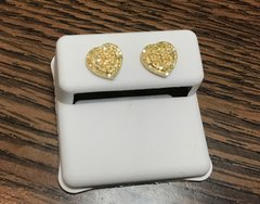 10kt yellow gold .22 Ct Canary yellow diamond heart earring