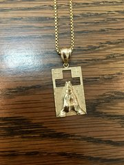 10KT Solid Yellow Gold Rope With Pray Hands,E0556