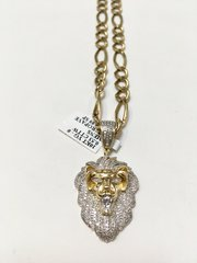 10KT Solid Yellow Gold Figaro Chain With Real Real Diamond Lion Face Charm, 31764