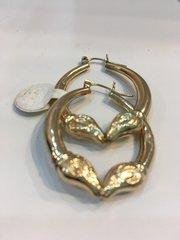 Lady hoop Earrings 10 k Solid Yellow Gold zx