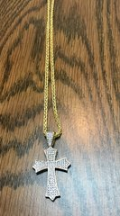 10KT Solid Yellow Gold Rope With Cross Charm, E0553