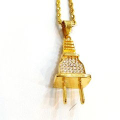 Pure Stainless steel chains and charm gold tone plug with Crystal's W3421