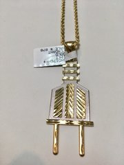 10KT Solid Yellow Gold Rope With Plug Charm, 76612