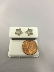 10K Star Yellow Gold White Round Diamond VS1 Earrings