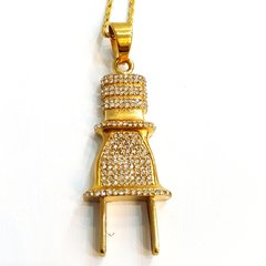 Pure Stainless steel chains and plug charm gold tone with Crystal's WE33123