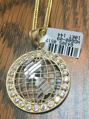 10KT Solid Yellow Gold Rope With Globe Charm, 64305
