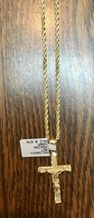 10KT Solid Yellow Gold Rope With Cross Charm, 54512