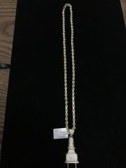 10k solid yellow gold Rope chain with plug charm
