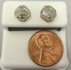 10K Octogonal shaped Yellow Gold White Round Diamond VS1 Earrings