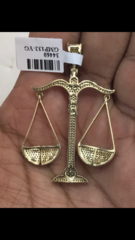 10K solid yellow gold scales of Justice Pendant
