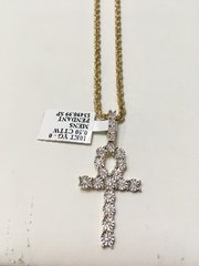 10KT Solid Yellow Gold Rope With Real Diamond Cross Charm, 33574