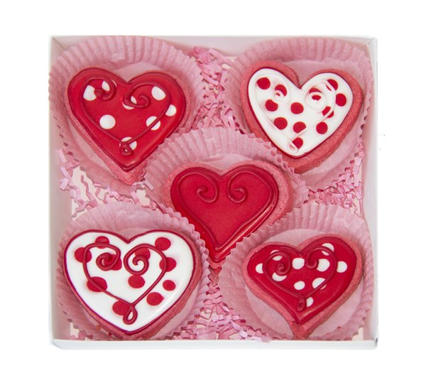 Valentine Hearts 5 Cookie. item#VC147 | Cookie Pops And More