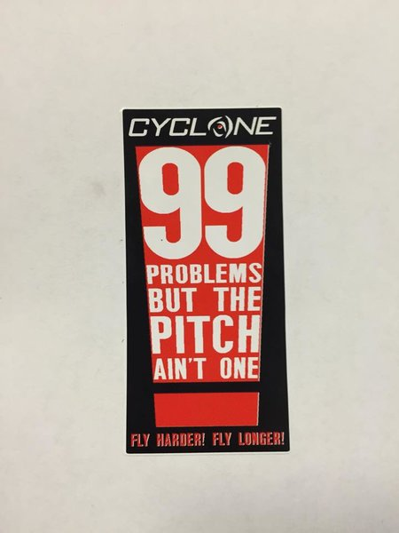 "Cyclone 99 Problems Sticker 1.5"" x 3.25"""