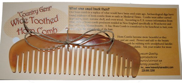"""Wide Tooth Horn Comb - """"Country Gent"""""""